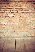 Wood and brick wall — Stock Photo