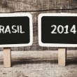 Brazil flag soccer 2014 Small wooden framed blackboards — Stock Photo