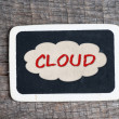 Cloud handwritten with white chalk on a blackboard — Stock Photo