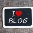 I love my blog handwritten with white chalk on a blackboard — Stock Photo #37630419