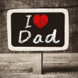 Stock Photo: Hand writing I Love Dad on chalkboard