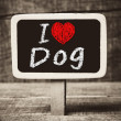 I love my Dog written with chalk on the school blackboard — Stock Photo