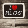 I love my blog handwritten with white chalk on a blackboard — Stock Photo #37634491
