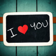 Blackboard with I Love Heart You Message — Stock Photo #37953559