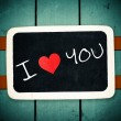 Blackboard with I Love Heart You Message — Stock Photo