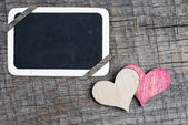 Heart on small blackboard — 图库照片