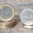One uro coin and one zloty coin — Stock Photo