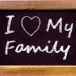 I love my family handwritten with white chalk — Stock Photo