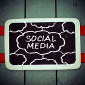 Social media concept - text on a blackboard — Stock Photo