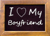 I love My Boyfriend handwritten with chalk — Stock Photo