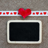 Heart on smal blackboard — 图库照片