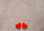 Hearts on hessian — Photo