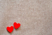 Hearts on hessian — Foto Stock