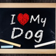 I love my Dog written with chalk on the school blackboard — Stock Photo #39650265