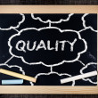 Quality handwritten with white chalk on a blackboard — Stock Photo #39652671