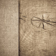 Stock Photo: Burlap texture on wooden table