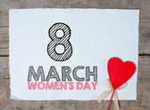 Happy Women's Day text Calligraphy And Typography Background With heart — Stock Photo