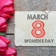 Tulips with 8 march International womans day — Stock Photo #41020343