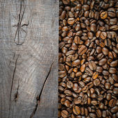 Coffee bean with wooden plank — Stock Photo