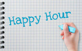 Hand writing happy hour — Stock Photo