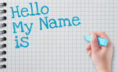 Name tag HELLO my name — Stock Photo