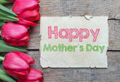 Tulips and Happy mother day — Stock Photo