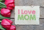 Tulips and I love Mom — Foto Stock