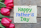 Tulips and Happy father day — Stock Photo