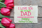 Happy father day on wooden table — Stockfoto