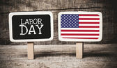 Labor Day and USA flag — Stock Photo