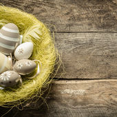 Easter eggs inside basket — Stock Photo