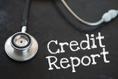 Stethoscope and credit report — Foto Stock