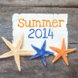 Star fish and card with text Summer 2014 — Stock Photo