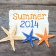 Star fish and card with text Summer 2014 — Stock Photo #43992443