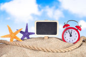 Starfish with sea shell and label — Stock Photo