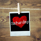 Love Saturday on red heart — Stock Photo