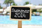 Summer 2014 handwritten on blackboard — Stock Photo