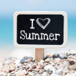 I love summer handwritten on blackboard — Stock Photo #47644983