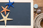 Blackboard decorated with starfishes — Stock Photo