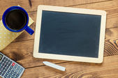 Workspace with blackboard — Stock Photo