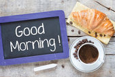 Good Morning written on blackboard — Stock Photo