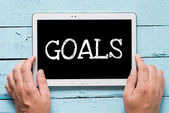 "Tablet pc with text ""Goals"" — Stock Photo"