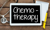 Chemotherapy word on tablet pc with stethoscope — Stock Photo