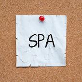 软木板带文本水疗浴缸 — 图库照片