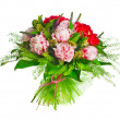 Bouquet of paeonia, veronica, eremurus, godetia — Stock Photo