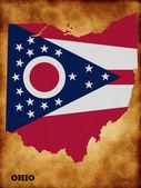 Ohio map with flag — Stock Photo