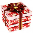 Stock Photo: Gift box with red ribbon bow