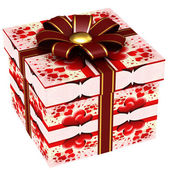 Gift box with red ribbon bow — Stock Photo