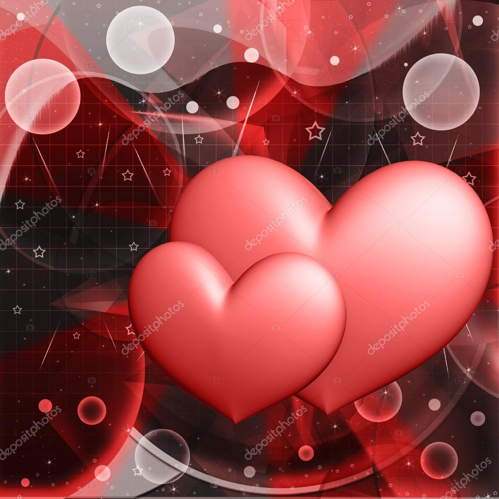 Red hearts on an abstract background — Photo #13419206