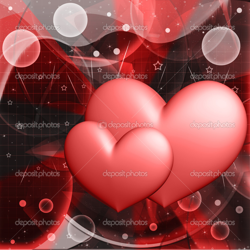 Red hearts on an abstract background — Stock Photo #13419206